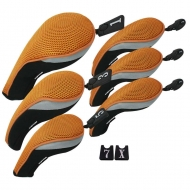 Andux Golf Club Head Cover Set Interchangeable No. Tag (3 Hybrid Cover+3 Wood Cover) MT/ZH06 Orange